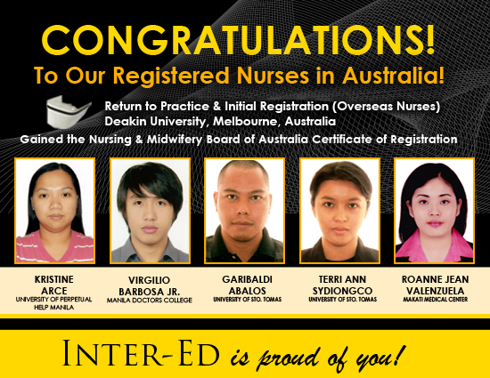 Congratulations to our Registered Nurses in Australia!